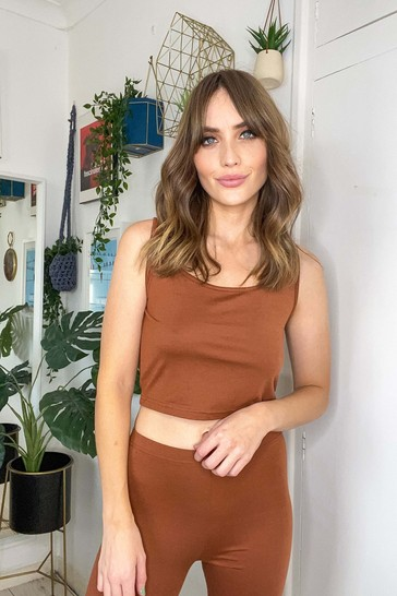 Girls On Film Brown Lounge Crop Top And Shorts Co Ord Set