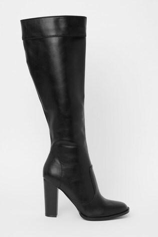 Raid Black Block Heel High Leg Boots