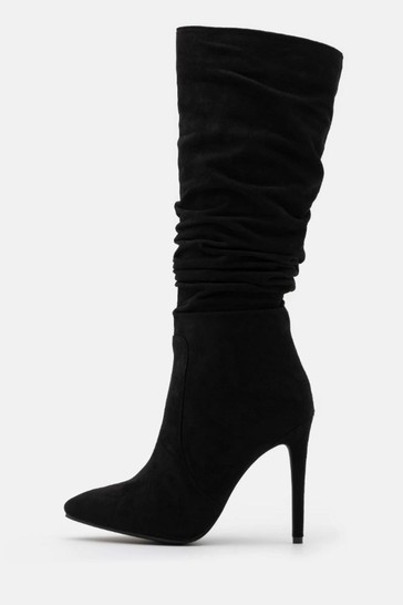 Raid Black Ruched Stiletto Heeled High Leg Boot