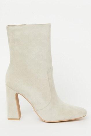 Raid Grey Block Heel Suedette Boot