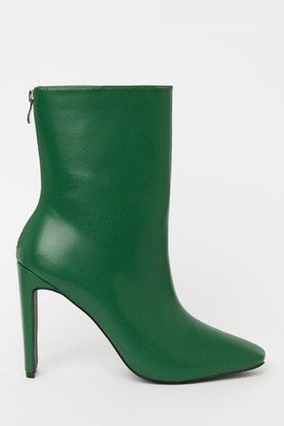 Raid Green Thin Heel Ankle Boot