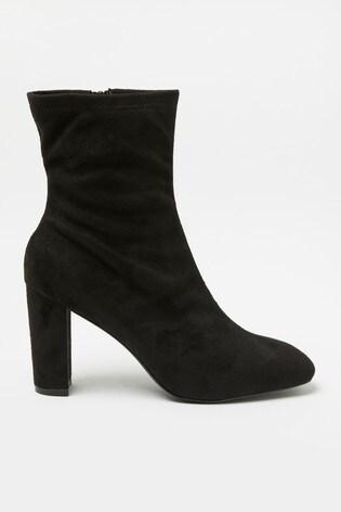 Raid Black Heeled Sock Boot