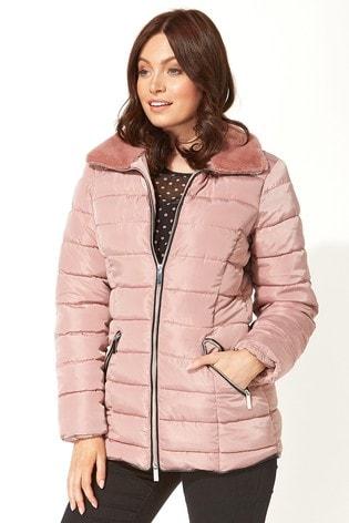 Roman Pink Originals Short Zip Through Padded Coat