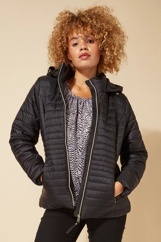 Roman Black Originals Hooded Zip Through Padded Coat