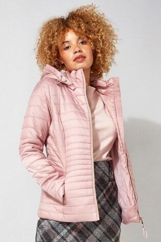 Roman Pink Originals Hooded Zip Through Padded Coat
