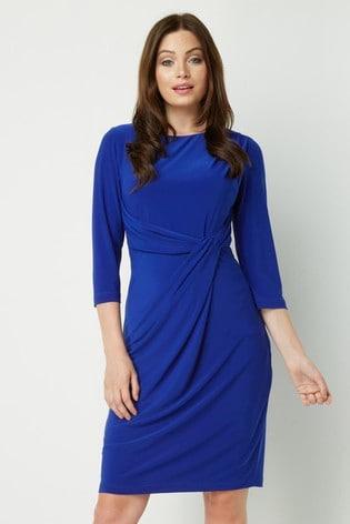 Roman Blue Originals Three Quarter Sleeve Twist Waist Dress