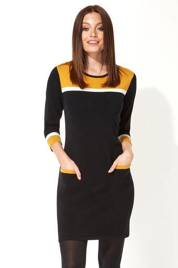 Roman Yellow Originals Colour Block Knitted Dress