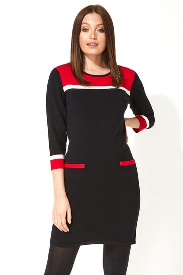 Roman Red Originals Colour Block Knitted Dress