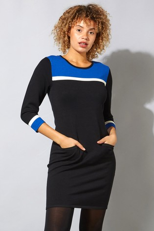 Roman Blue Originals Colour Block Knitted Dress