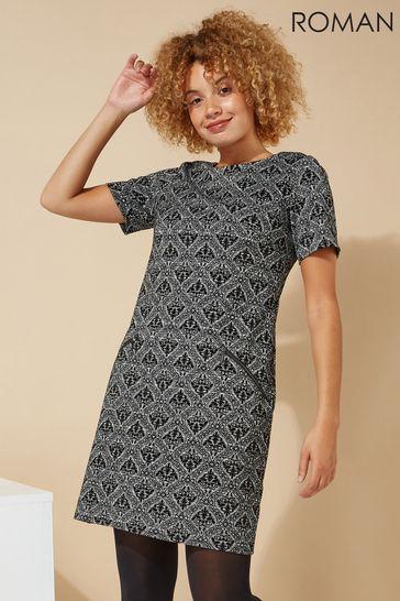 Roman Grey Originals Baroque Flocking Detail Shift Dress
