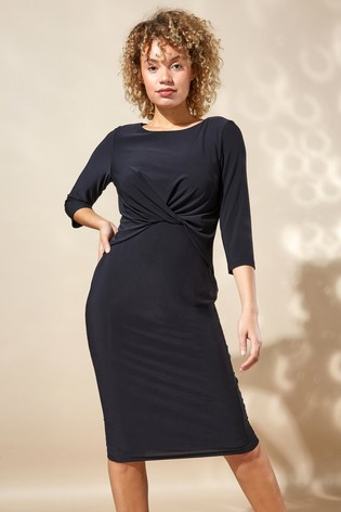 Roman Black Originals Twist Front Three Quarter Sleeve Shift Dress
