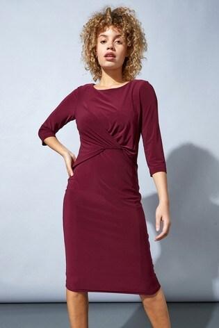 Roman Red Originals Twist Front Three Quarter Sleeve Shift Dress