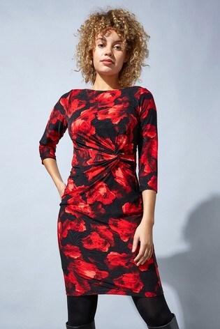 Roman Red Originals Floral Twist Waist Dress