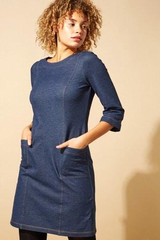 Roman Blue Originals Top Stitch Detail Denim Shift Dress