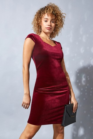 Roman Red Originals Velvet Sweetheart Neck Shift Dress
