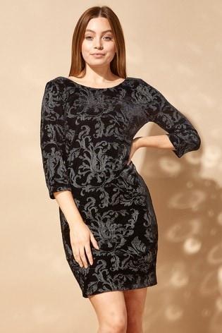 Roman Black Embroidered Floral Velvet Dress