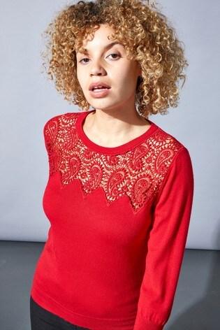Roman Red Originals Paisley Lace Yoke Jumper