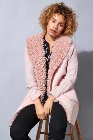 Roman Pink Originals Longline Faux Shearling Knit Coatigan