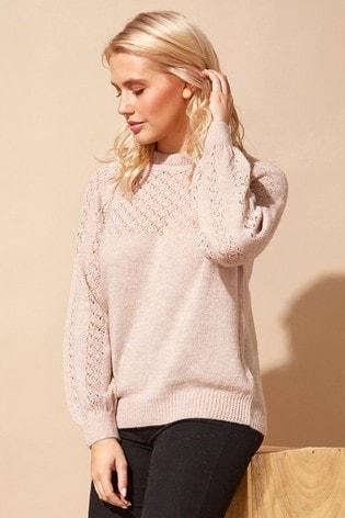 Roman Pink Originals Frill Neck Pointelle Knitted Jumper