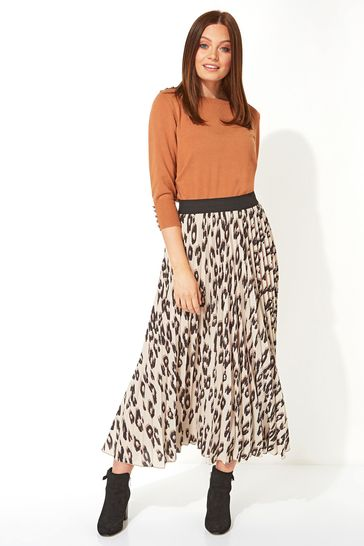 Roman Brown Pleated Maxi Skirt