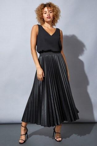Roman Black Faux Leather Pleated Maxi Skirt