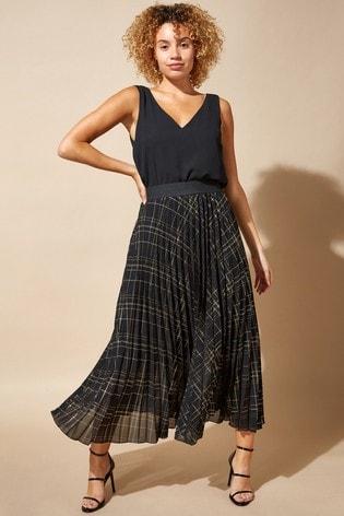 Roman Black Check Pleated Maxi Skirt