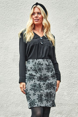 Roman Grey Originals Check Floral Jersey Pencil Skirt