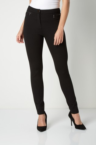 Roman Black Originals Zip Detail Ponte Trousers