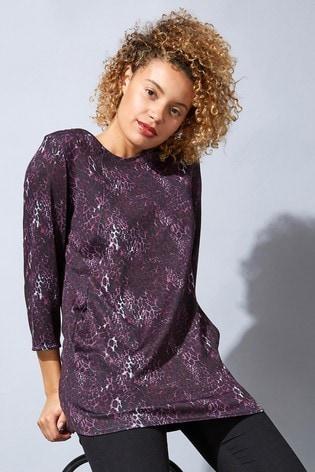 Roman Purple Originals Animal Print Jersey Top With Pockets