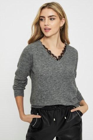 Vero Moda Grey Lace Trim V Neck Jumper
