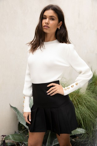 Lipsy Ivory Knitted Military Button Turtleneck Jumper