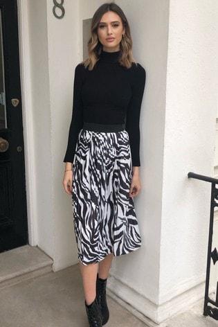 Lipsy Monochrome Zebra Pleated Midi Skirt