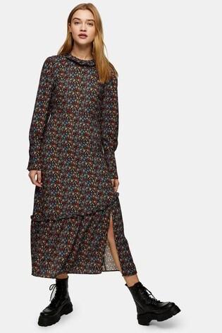 buy topshop puff sleeve ruffle hem midi dress from the