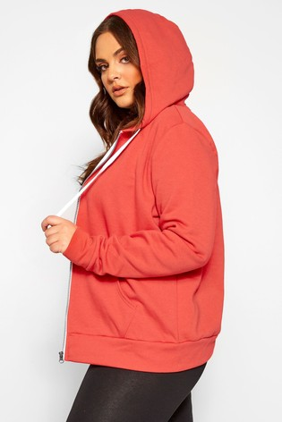 Yours Red Curve Zip Through Hoodie