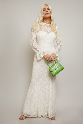 Little Mistress White Aurora Velvet Lace Belted Fishtail Maxi Dress