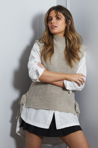 Lipsy Neutral Sleeveless Knit Vest With Tie Side Details