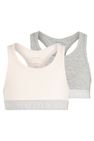 Name It Pink and Grey Girls 2 Pack Crop Tops