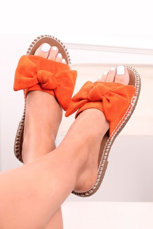 Linzi Orange Spot Canvas Slip On Slider With Large Bow Front Strap