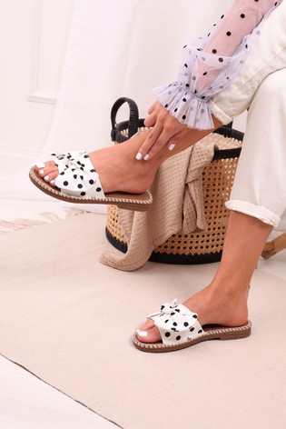 Linzi White Spot Canvas Slip On Slider With Large Bow Front Strap