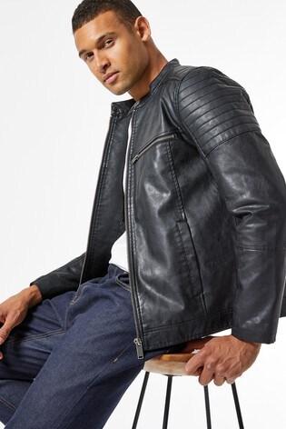 Burton Black Pu Racer Biker Jacket