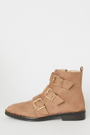 Raid Brown Buckle Ankle Boots