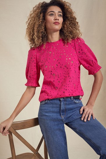 Love & Roses Pink Shirred Cuff Jersey T-Shirt