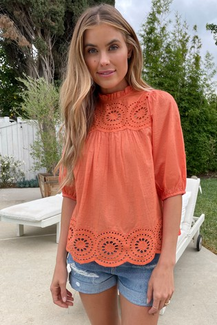 Love & Roses Coral Broderie Yoke Blouse