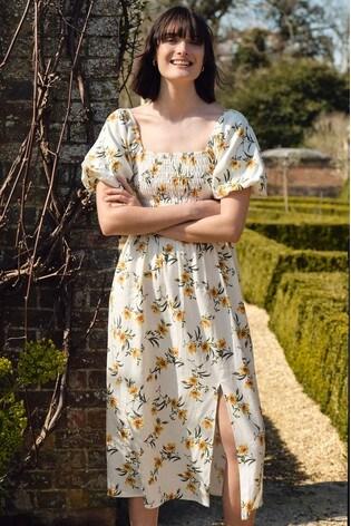 Love & Roses Ivory Puff Sleeve Shirred Bodice Midi Dress