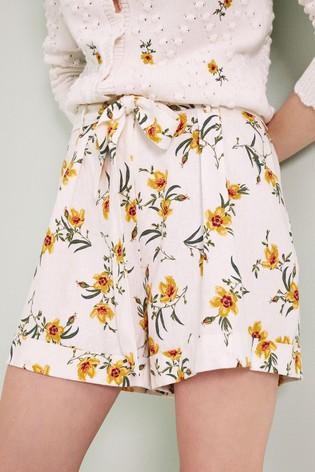 Love & Roses Ivory High Waist Paper Bag Linen Shorts