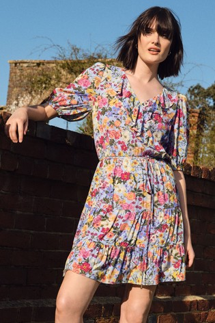 Love & Roses Blue floral Frill Tiered Wrap Dress