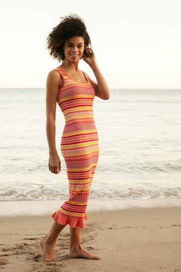 Love & Roses Orange Knitted Stripe Midi Dress