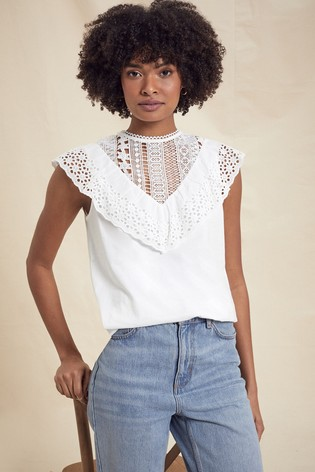Love & Roses Ivory Broderie Frill Trim Jersey Top