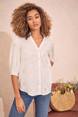 Love & Roses Ivory and Gold Frill Neck Blouse