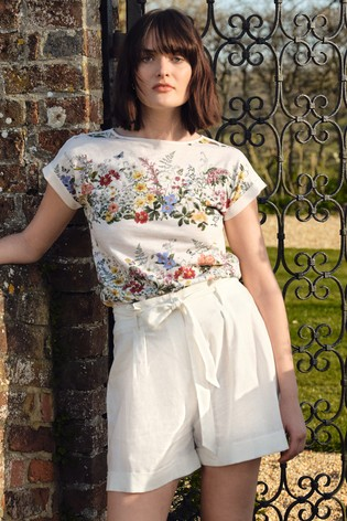 Love & Roses Ivory Floral Roll Sleeve TShirt